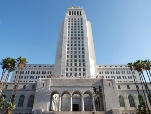 Los Angeles City Hall, with phallus