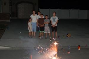 Celebratory American family