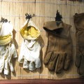 Old Hands #2; gloves, rattan; 2013